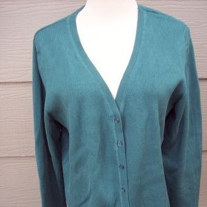 Coldwater Creek Cardigan Sz L Rib Knit Green Vneck